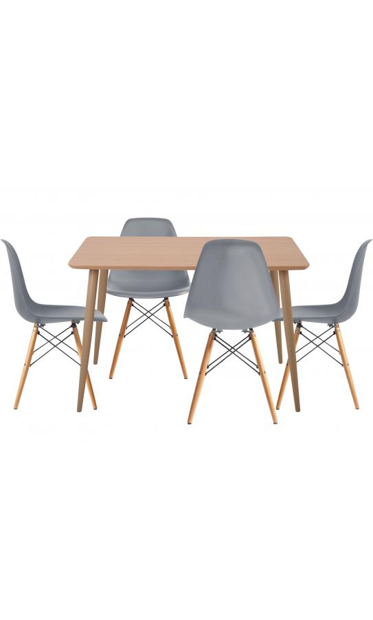 Комплект обідній GT DT15045/X-D10 Dark Gray (стіл + 4 стільця)