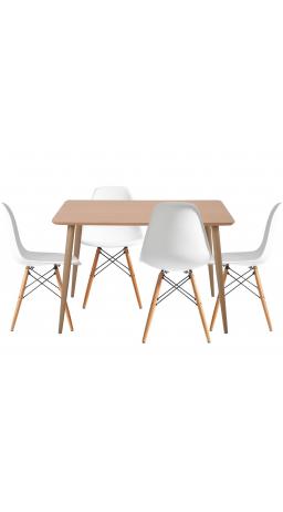 Комплект обідній GT DT15045/X-D10 White (стіл + 4 стільця)